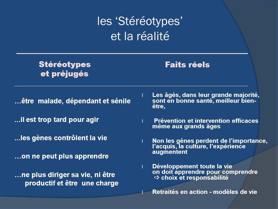 les Stéréotypes et la réalité …être malade, dépendant et sénile...il est trop tard pour agir...les gènes contrôlent la vie …on ne peut plus apprendre