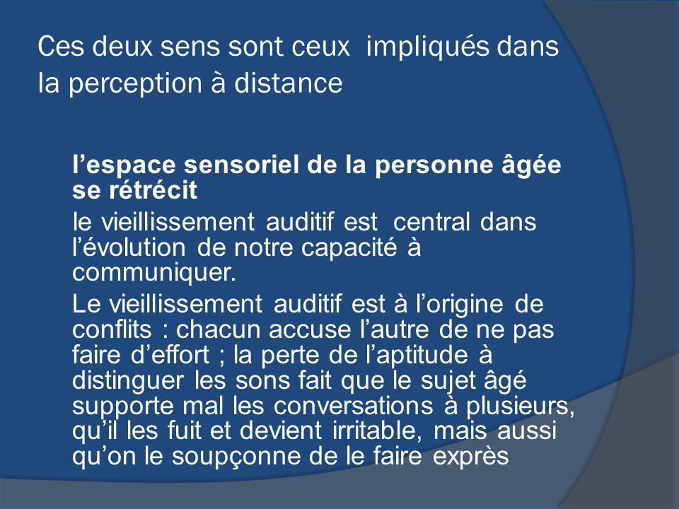 Ces deux sens sont ceux impliqués dans la perception à distance lespace sensoriel de la personne âgée se rétrécit le vieillissement auditif est centra