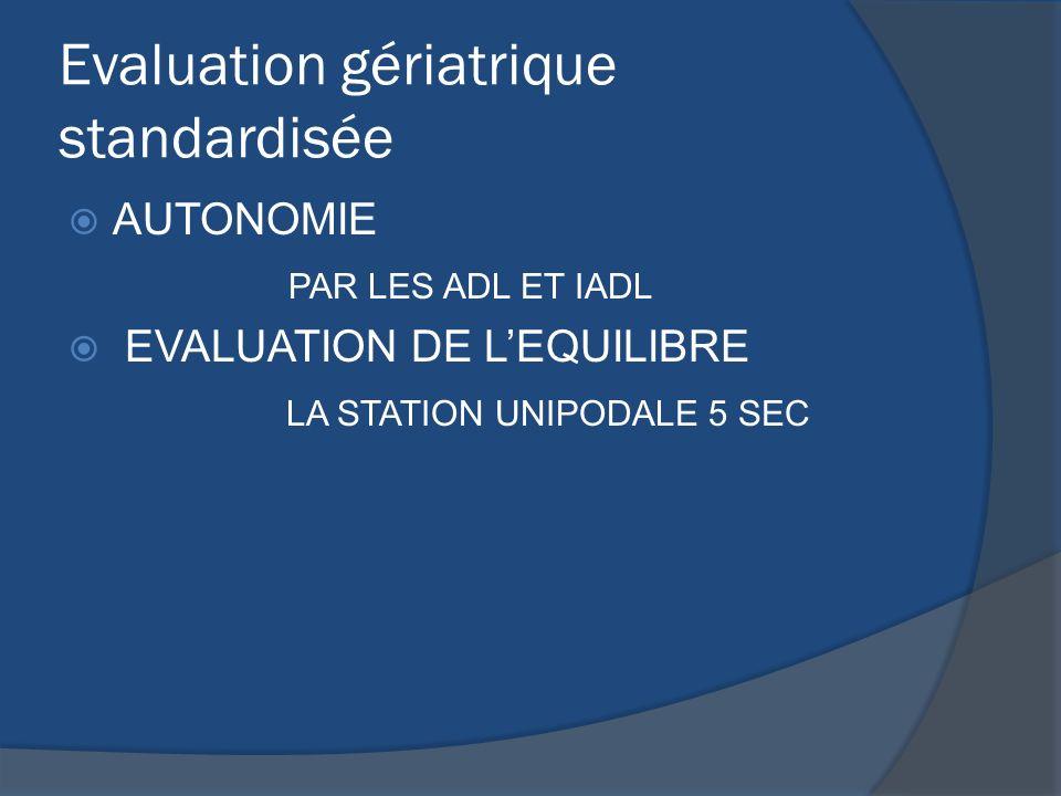 Evaluation gériatrique standardisée AUTONOMIE PAR LES ADL ET IADL EVALUATION DE LEQUILIBRE LA STATION UNIPODALE 5 SEC