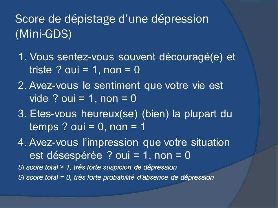 Score de dépistage dune dépression (Mini-GDS) 1. Vous sentez-vous souvent découragé(e) et triste ? oui = 1, non = 0 2. Avez-vous le sentiment que votr