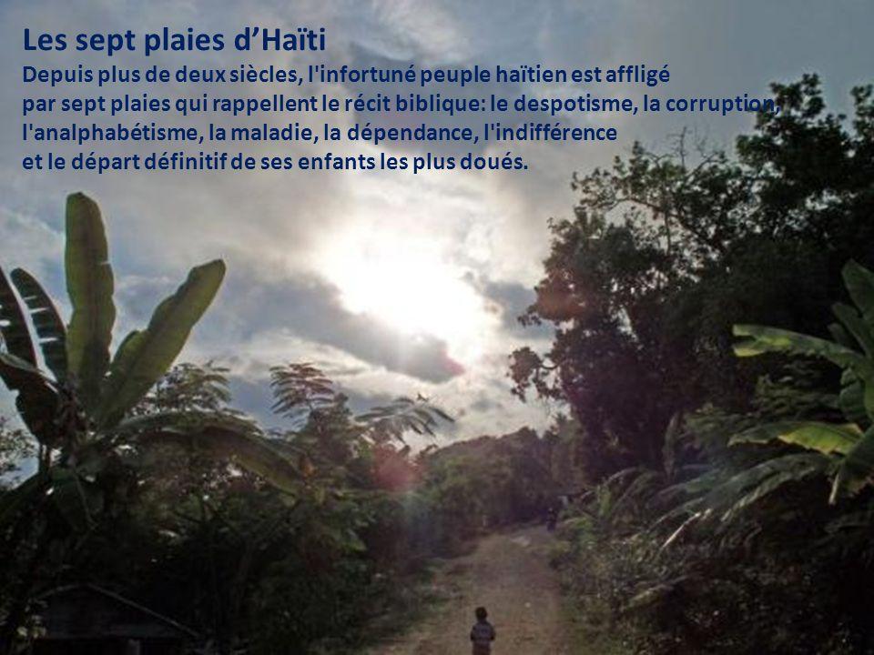 Les sept plaies dHaïti Depuis plus de deux siècles, l infortuné peuple haïtien est affligé par sept plaies qui rappellent le récit biblique: le despotisme, la corruption, l analphabétisme, la maladie, la dépendance, l indifférence et le départ définitif de ses enfants les plus doués.