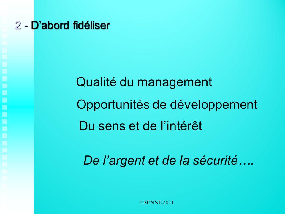2 - Dabord fidéliser Qualité du management Opportunités de développement Du sens et de lintérêt De largent et de la sécurité….