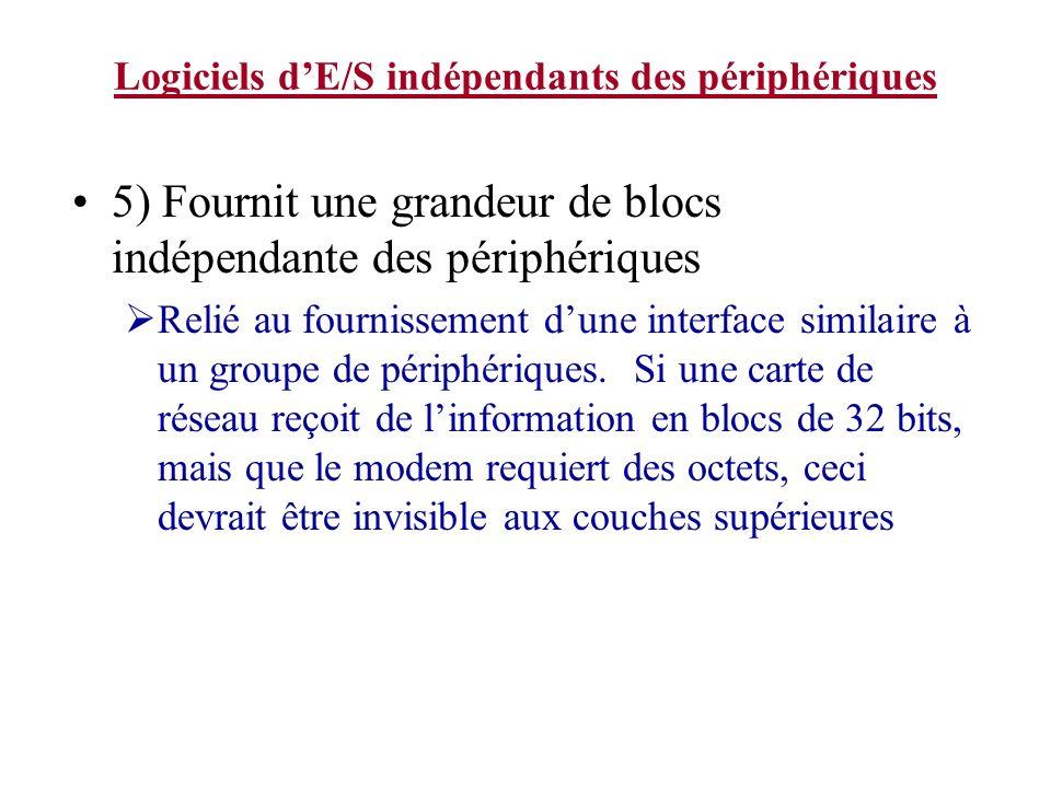 Logiciels dE/S indépendants des périphériques 5) Fournit une grandeur de blocs indépendante des périphériques Relié au fournissement dune interface similaire à un groupe de périphériques.