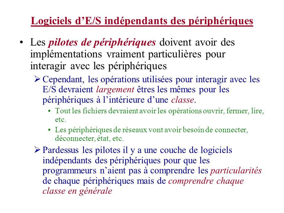 Logiciels dE/S indépendants des périphériques Les pilotes de périphériques doivent avoir des implémentations vraiment particulières pour interagir avec les périphériques Cependant, les opérations utilisées pour interagir avec les E/S devraient largement êtres les mêmes pour les périphériques à lintérieure dune classe.