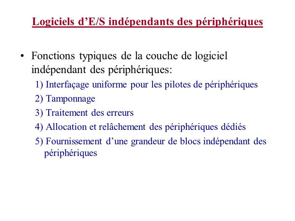 Logiciels dE/S indépendants des périphériques Fonctions typiques de la couche de logiciel indépendant des périphériques: 1) Interfaçage uniforme pour les pilotes de périphériques 2) Tamponnage 3) Traitement des erreurs 4) Allocation et relâchement des périphériques dédiés 5) Fournissement dune grandeur de blocs indépendant des périphériques