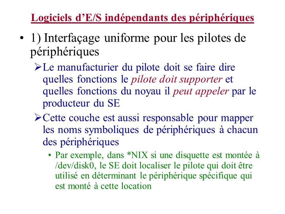Logiciels dE/S indépendants des périphériques 1) Interfaçage uniforme pour les pilotes de périphériques Le manufacturier du pilote doit se faire dire quelles fonctions le pilote doit supporter et quelles fonctions du noyau il peut appeler par le producteur du SE Cette couche est aussi responsable pour mapper les noms symboliques de périphériques à chacun des périphériques Par exemple, dans *NIX si une disquette est montée à /dev/disk0, le SE doit localiser le pilote qui doit être utilisé en déterminant le périphérique spécifique qui est monté à cette location