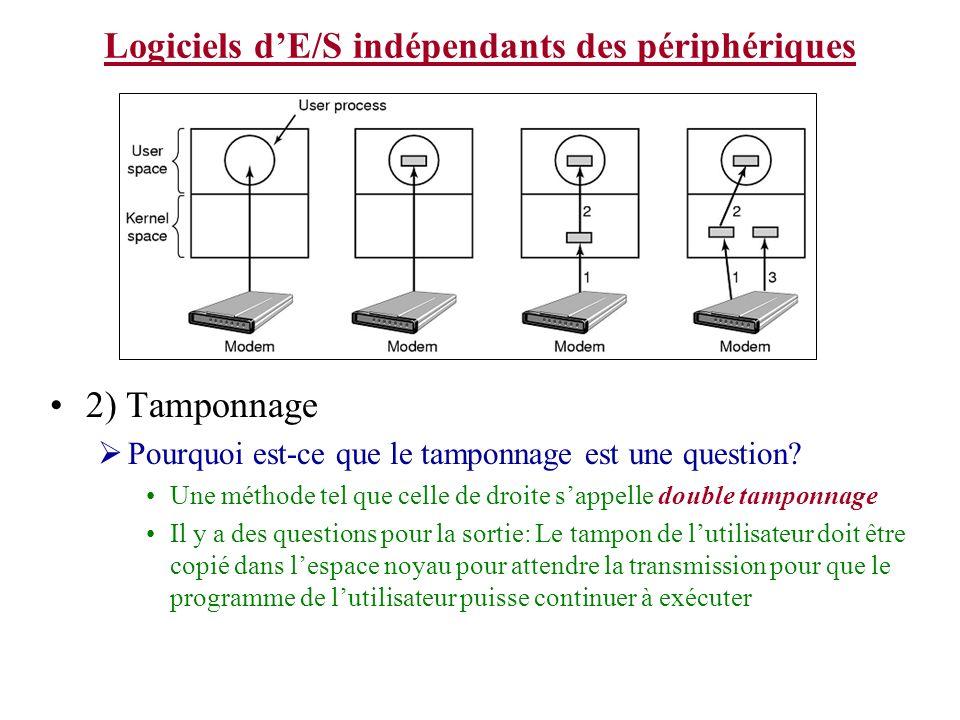 Logiciels dE/S indépendants des périphériques 2) Tamponnage Pourquoi est-ce que le tamponnage est une question.
