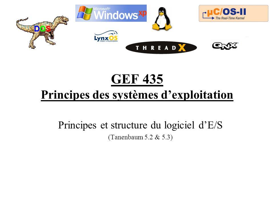 GEF 435 Principes des systèmes dexploitation Principes et structure du logiciel dE/S (Tanenbaum 5.2 & 5.3)