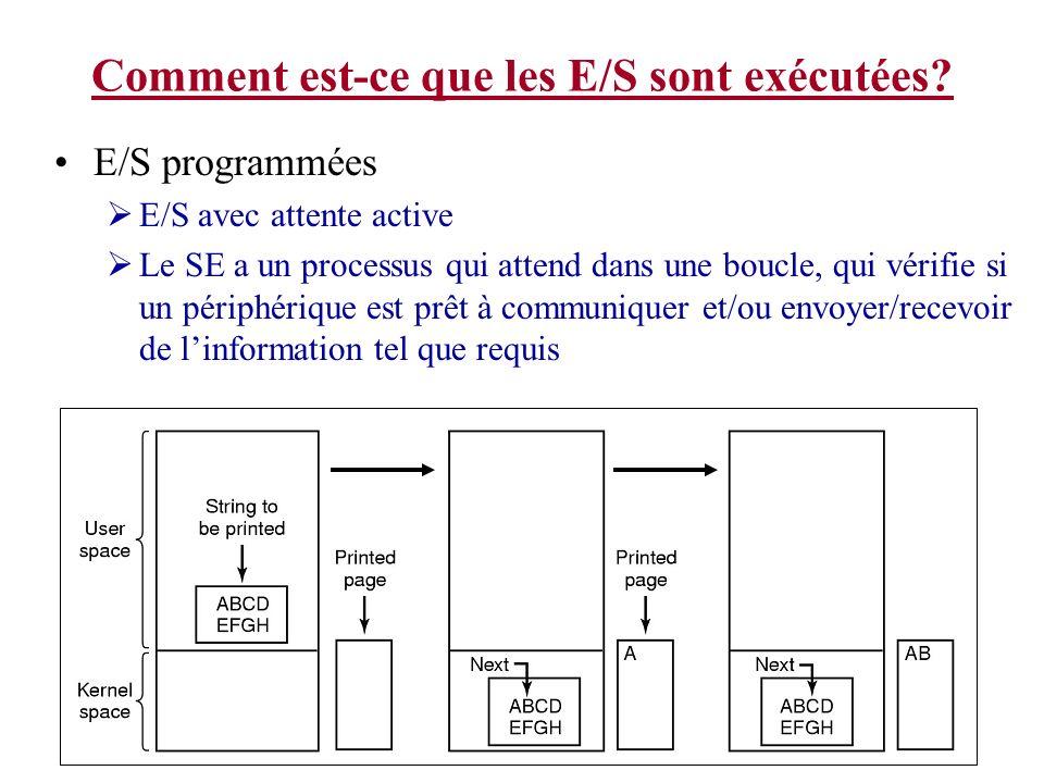 Comment est-ce que les E/S sont exécutées? E/S programmées E/S avec attente active Le SE a un processus qui attend dans une boucle, qui vérifie si un