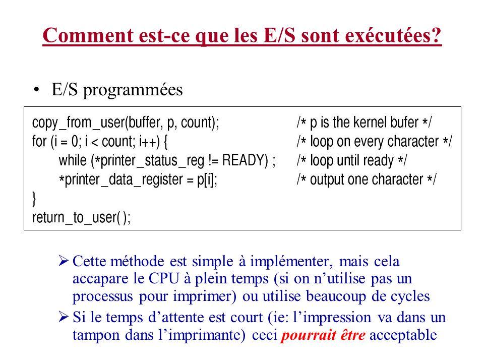 Comment est-ce que les E/S sont exécutées? E/S programmées Cette méthode est simple à implémenter, mais cela accapare le CPU à plein temps (si on nuti