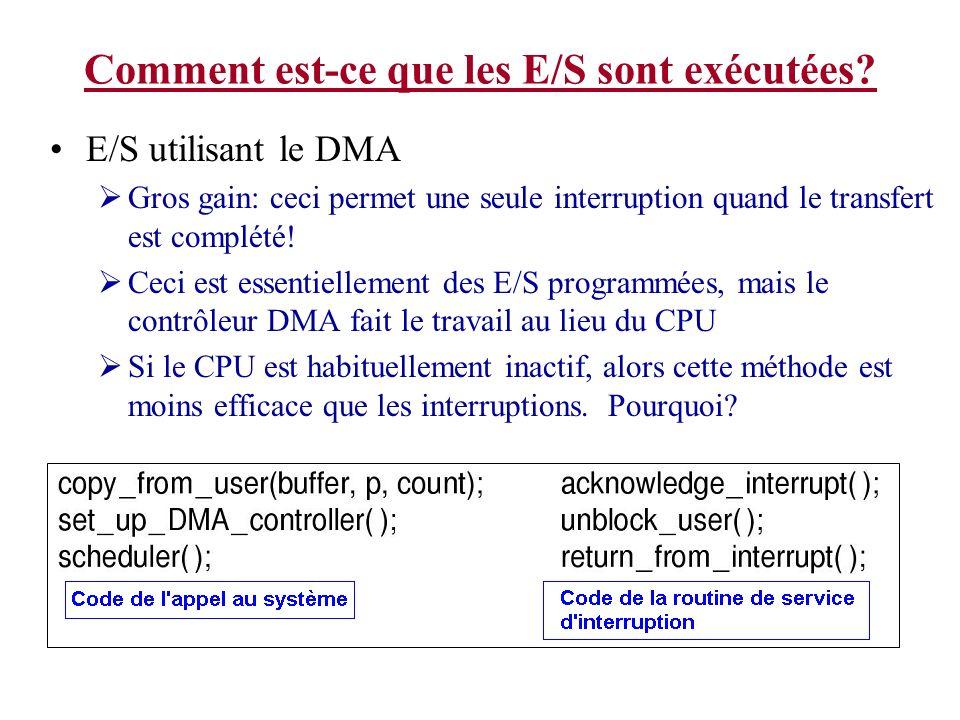 Comment est-ce que les E/S sont exécutées? E/S utilisant le DMA Gros gain: ceci permet une seule interruption quand le transfert est complété! Ceci es