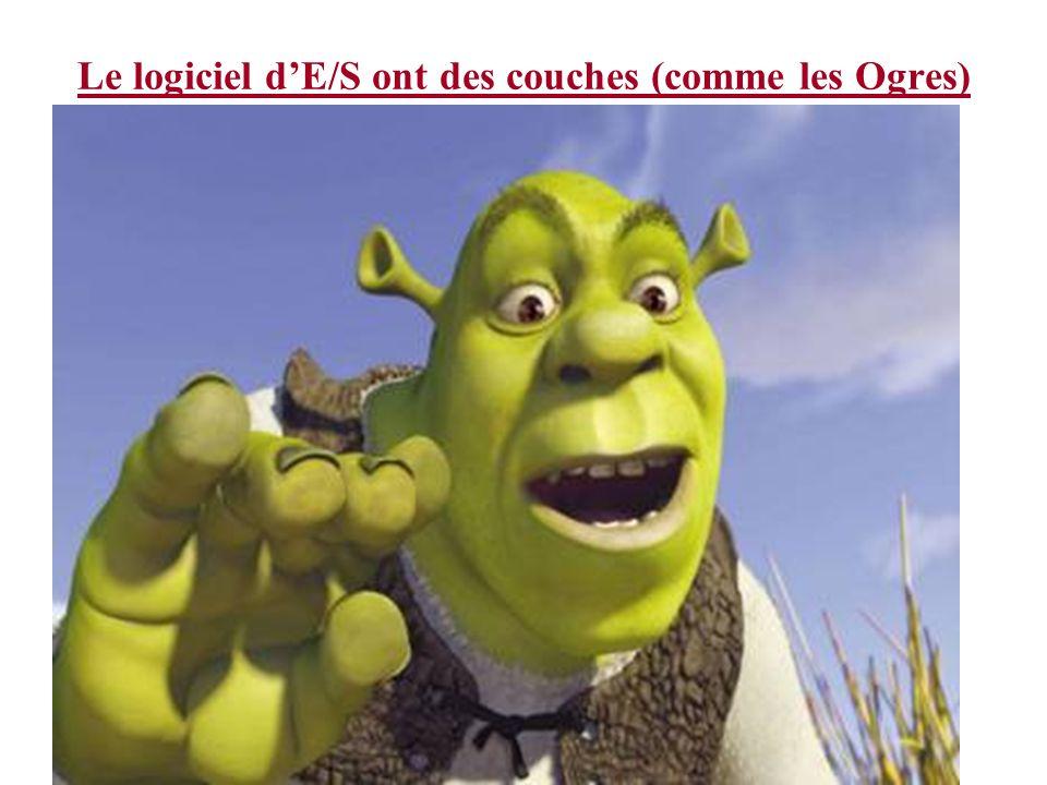 Le logiciel dE/S ont des couches (comme les Ogres)