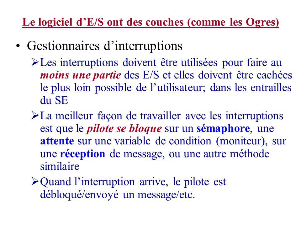 Le logiciel dE/S ont des couches (comme les Ogres) Gestionnaires dinterruptions Les interruptions doivent être utilisées pour faire au moins une parti