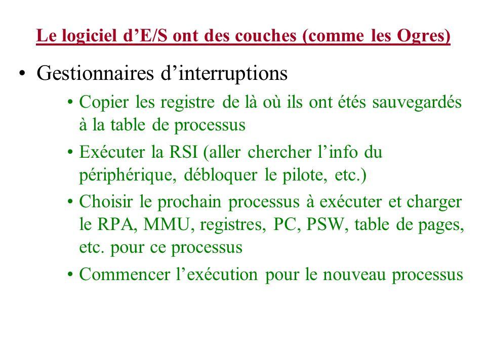 Le logiciel dE/S ont des couches (comme les Ogres) Gestionnaires dinterruptions Copier les registre de là où ils ont étés sauvegardés à la table de pr