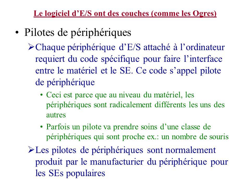 Le logiciel dE/S ont des couches (comme les Ogres) Pilotes de périphériques Chaque périphérique dE/S attaché à lordinateur requiert du code spécifique
