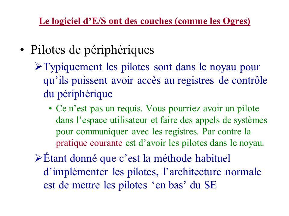 Le logiciel dE/S ont des couches (comme les Ogres) Pilotes de périphériques Typiquement les pilotes sont dans le noyau pour quils puissent avoir accès