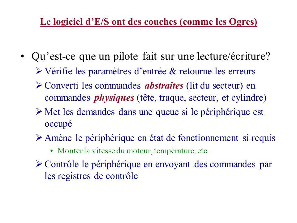 Le logiciel dE/S ont des couches (comme les Ogres) Quest-ce que un pilote fait sur une lecture/écriture? Vérifie les paramètres dentrée & retourne les