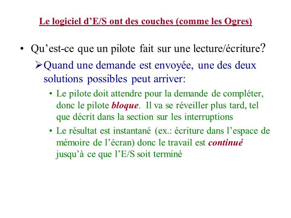Le logiciel dE/S ont des couches (comme les Ogres) Quest-ce que un pilote fait sur une lecture/écriture ? Quand une demande est envoyée, une des deux