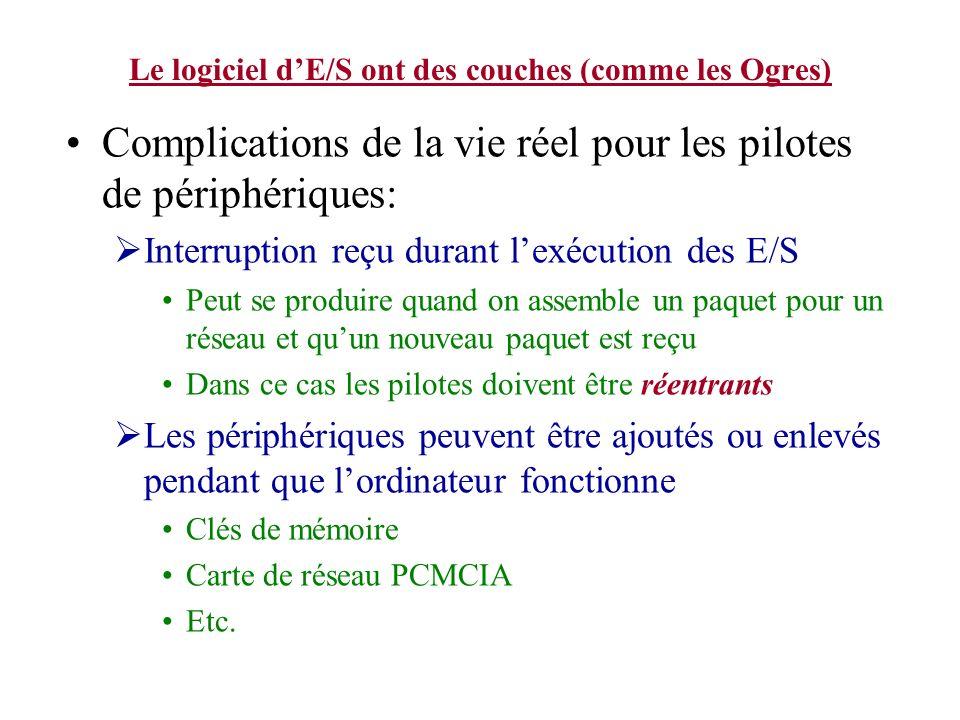 Le logiciel dE/S ont des couches (comme les Ogres) Complications de la vie réel pour les pilotes de périphériques: Interruption reçu durant lexécution