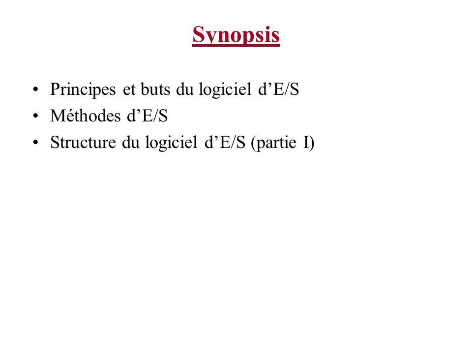 Synopsis Principes et buts du logiciel dE/S Méthodes dE/S Structure du logiciel dE/S (partie I)