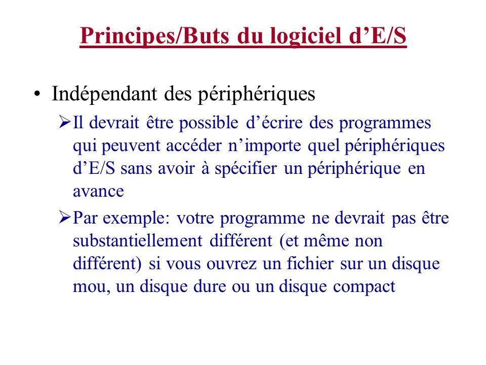 Principes/Buts du logiciel dE/S Nommage uniforme Le nom dun fichier ou dun périphérique devrait être une chaîne de caractères ou un entier et ne doit pas dépendre du périphérique daucune façon Est-ce que Windows rencontre ce but.