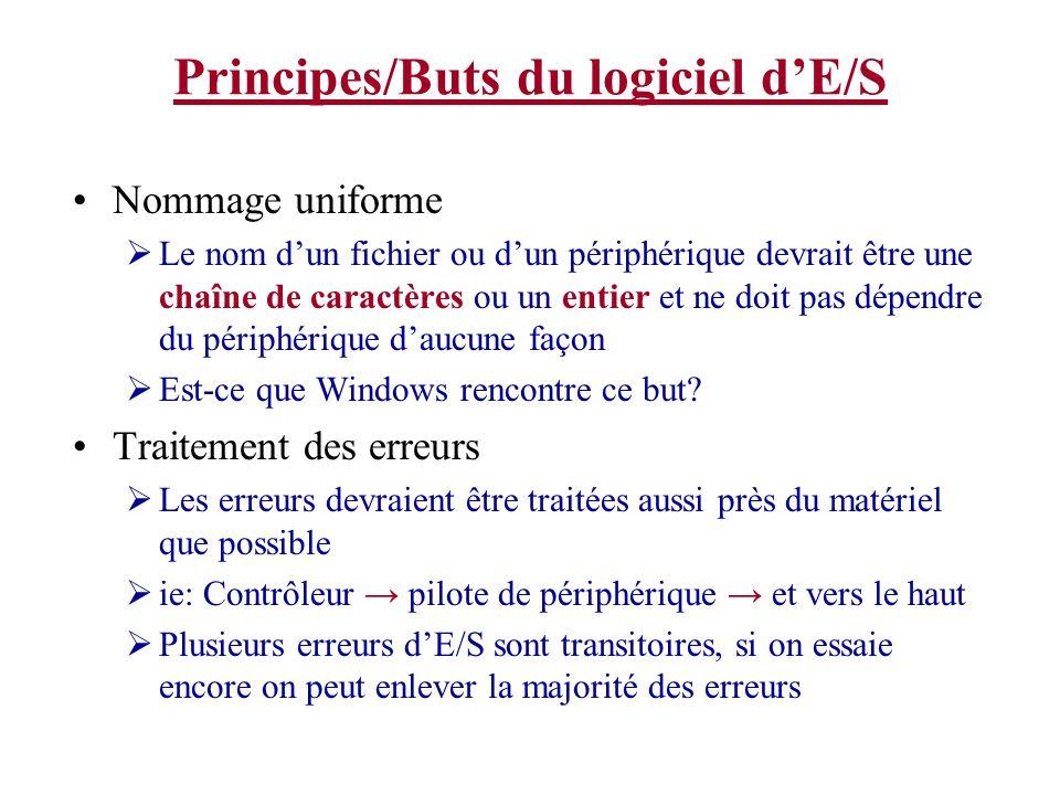 Principes/Buts du logiciel dE/S Nommage uniforme Le nom dun fichier ou dun périphérique devrait être une chaîne de caractères ou un entier et ne doit