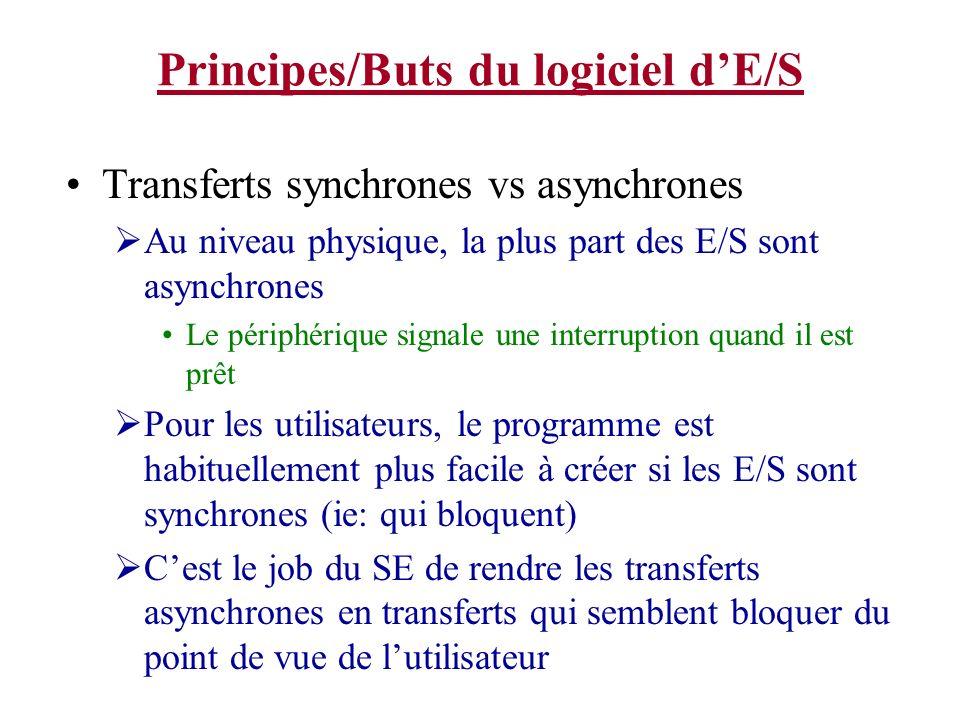 Principes/Buts du logiciel dE/S Transferts synchrones vs asynchrones Au niveau physique, la plus part des E/S sont asynchrones Le périphérique signale