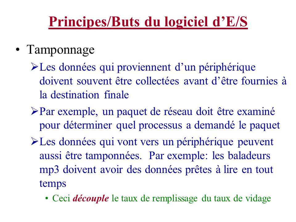 Principes/Buts du logiciel dE/S Tamponnage Les données qui proviennent dun périphérique doivent souvent être collectées avant dêtre fournies à la dest
