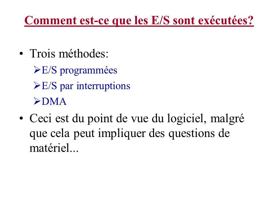 Comment est-ce que les E/S sont exécutées? Trois méthodes: E/S programmées E/S par interruptions DMA Ceci est du point de vue du logiciel, malgré que