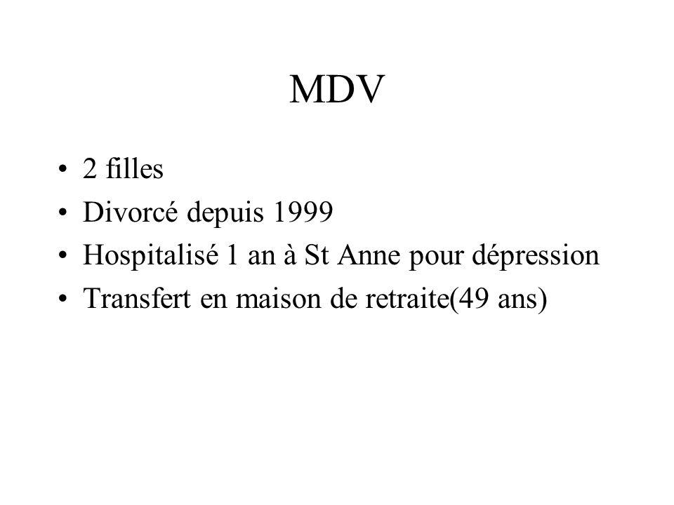 MDV 2 filles Divorcé depuis 1999 Hospitalisé 1 an à St Anne pour dépression Transfert en maison de retraite(49 ans)