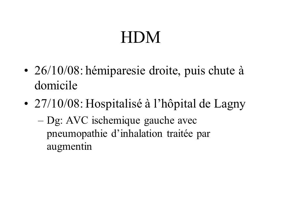 HDM 26/10/08: hémiparesie droite, puis chute à domicile 27/10/08: Hospitalisé à lhôpital de Lagny –Dg: AVC ischemique gauche avec pneumopathie dinhala