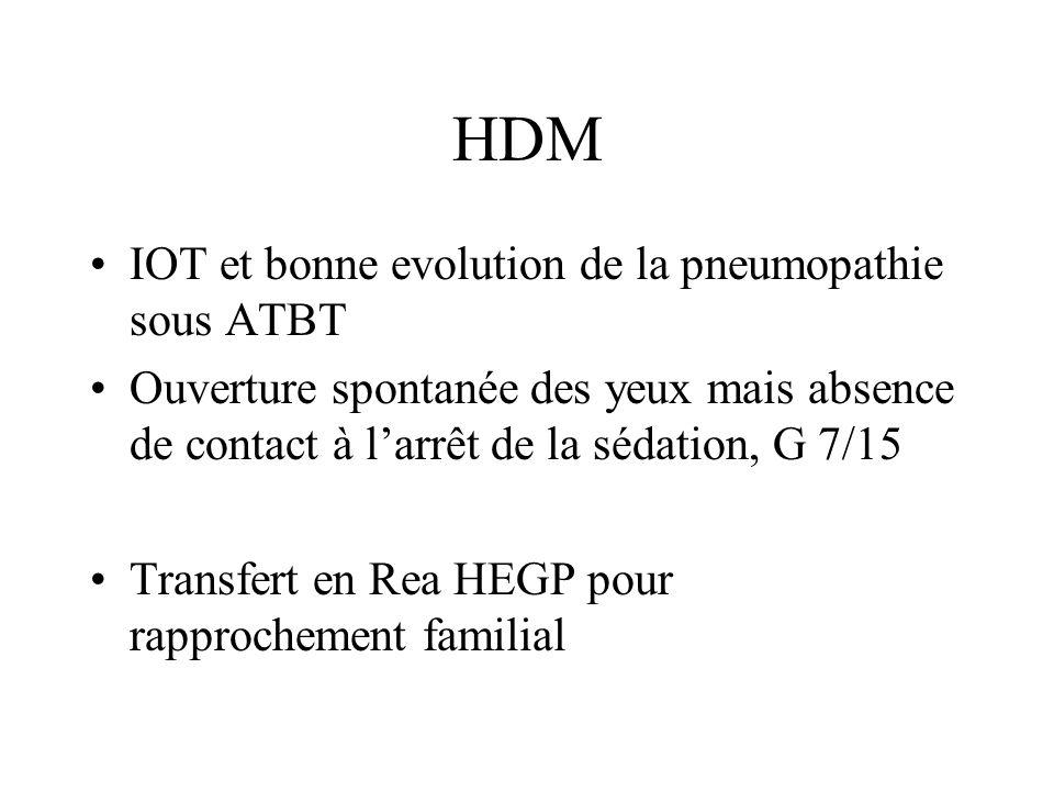 HDM IOT et bonne evolution de la pneumopathie sous ATBT Ouverture spontanée des yeux mais absence de contact à larrêt de la sédation, G 7/15 Transfert