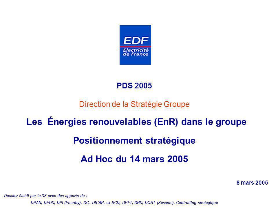 PDS 2005 Direction de la Stratégie Groupe Les Énergies renouvelables (EnR) dans le groupe Positionnement stratégique Ad Hoc du 14 mars 2005 8 mars 200