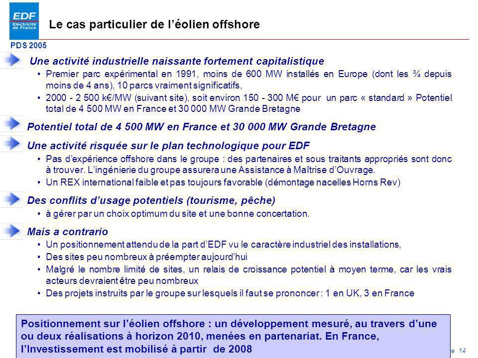 PDS 2005 Page 14 Le cas particulier de léolien offshore Une activité industrielle naissante fortement capitalistique Premier parc expérimental en 1991