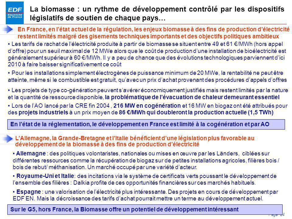 PDS 2005 Page 24 La biomasse : un rythme de développement contrôlé par les dispositifs législatifs de soutien de chaque pays… En France, en létat actu