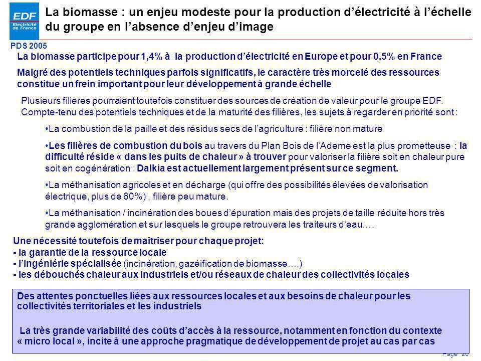 PDS 2005 Page 26 La biomasse participe pour 1,4% à la production délectricité en Europe et pour 0,5% en France La biomasse : un enjeu modeste pour la