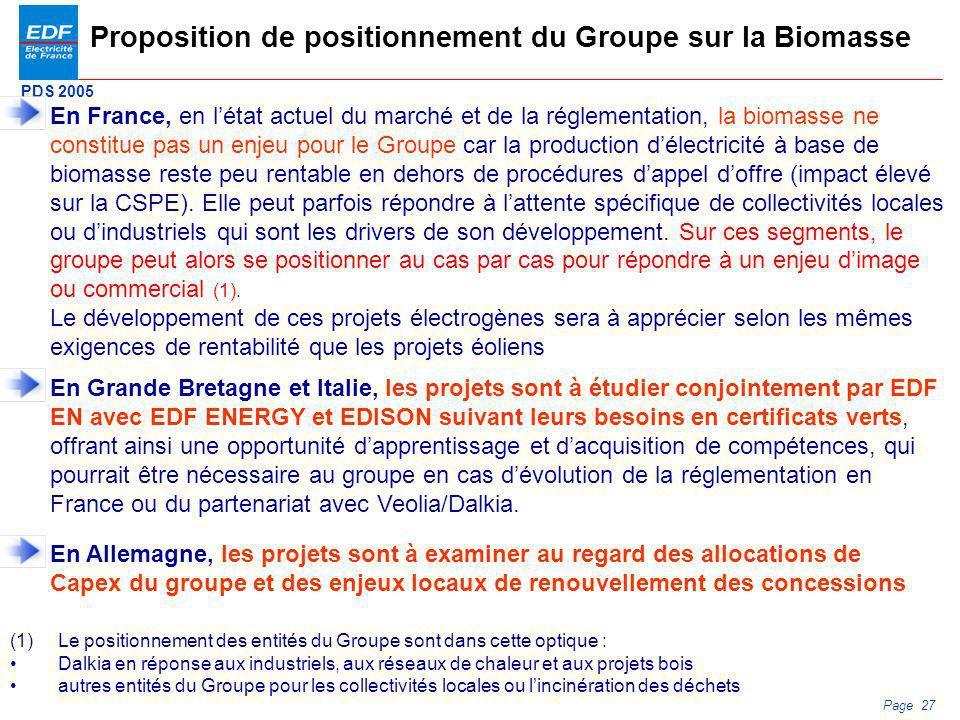PDS 2005 Page 27 Proposition de positionnement du Groupe sur la Biomasse En France, en létat actuel du marché et de la réglementation, la biomasse ne