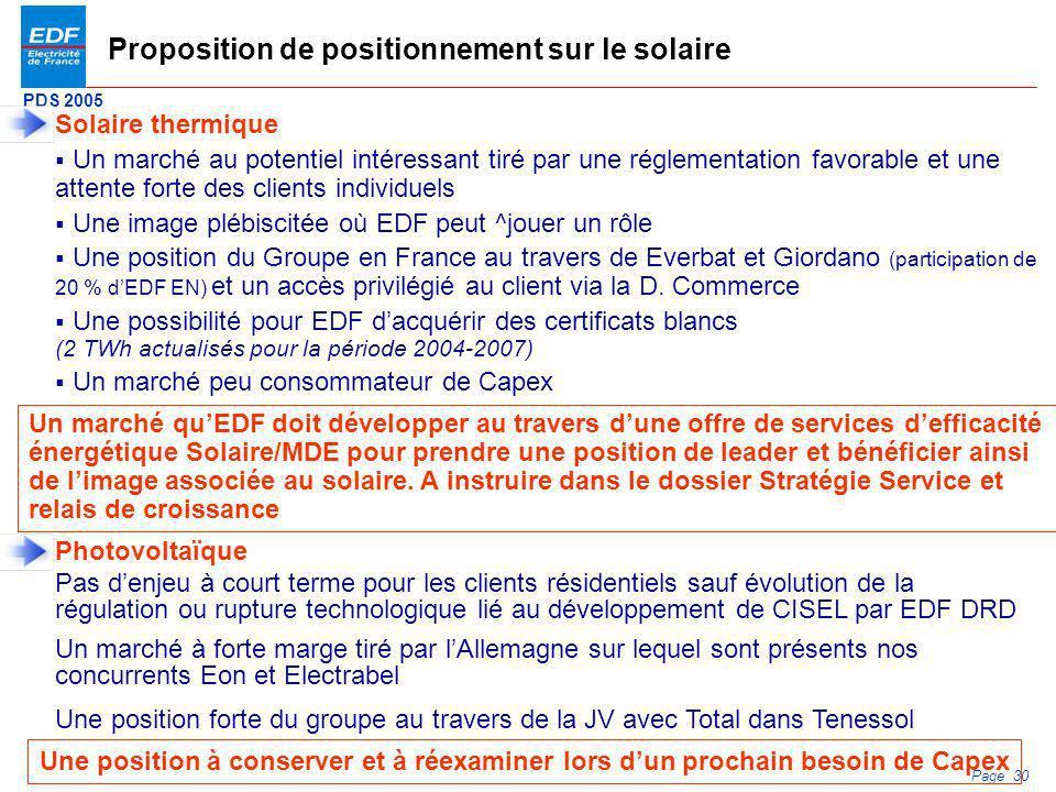 PDS 2005 Page 30 Proposition de positionnement sur le solaire Solaire thermique Un marché au potentiel intéressant tiré par une réglementation favorab
