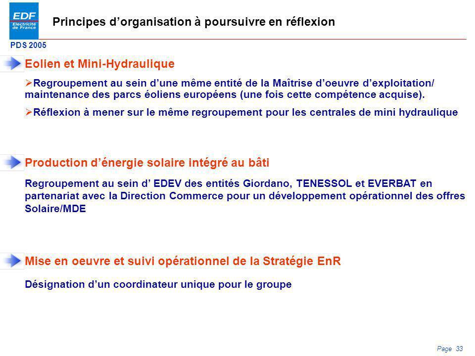 PDS 2005 Page 33 Principes dorganisation à poursuivre en réflexion Regroupement au sein dune même entité de la Maîtrise doeuvre dexploitation/ mainten