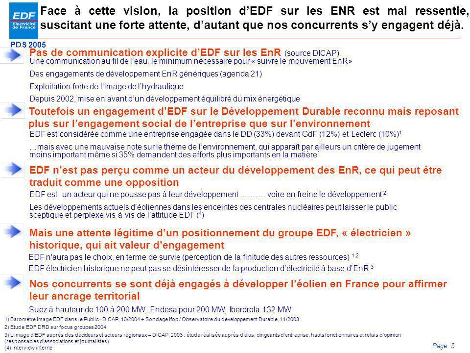 PDS 2005 Page 5 Face à cette vision, la position dEDF sur les ENR est mal ressentie, suscitant une forte attente, dautant que nos concurrents sy engag