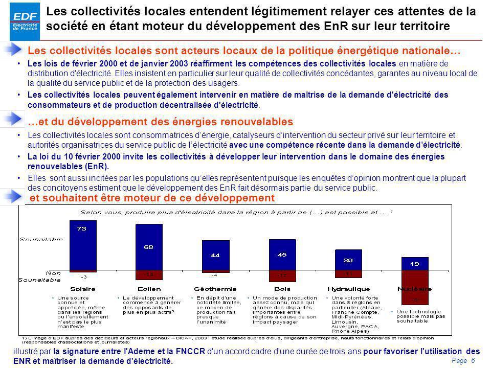 PDS 2005 Page 6 Les collectivités locales entendent légitimement relayer ces attentes de la société en étant moteur du développement des EnR sur leur