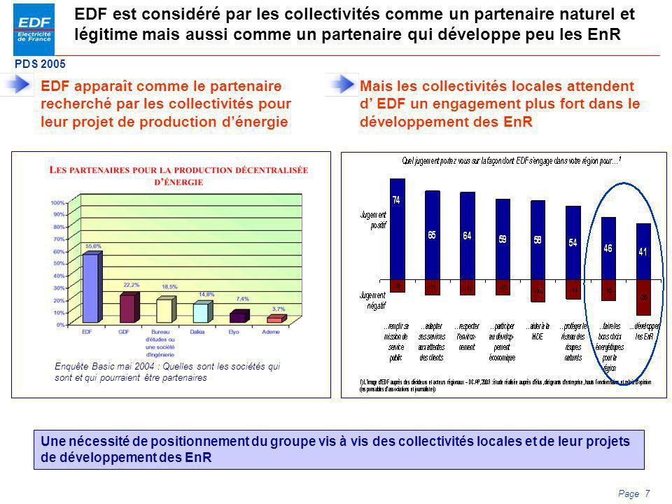 PDS 2005 Page 7 EDF est considéré par les collectivités comme un partenaire naturel et légitime mais aussi comme un partenaire qui développe peu les E