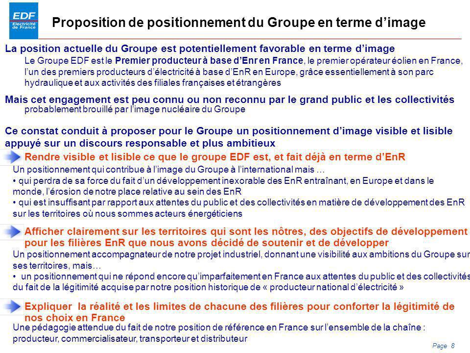 PDS 2005 Page 8 Proposition de positionnement du Groupe en terme dimage Le Groupe EDF est le Premier producteur à base dEnr en France, le premier opér