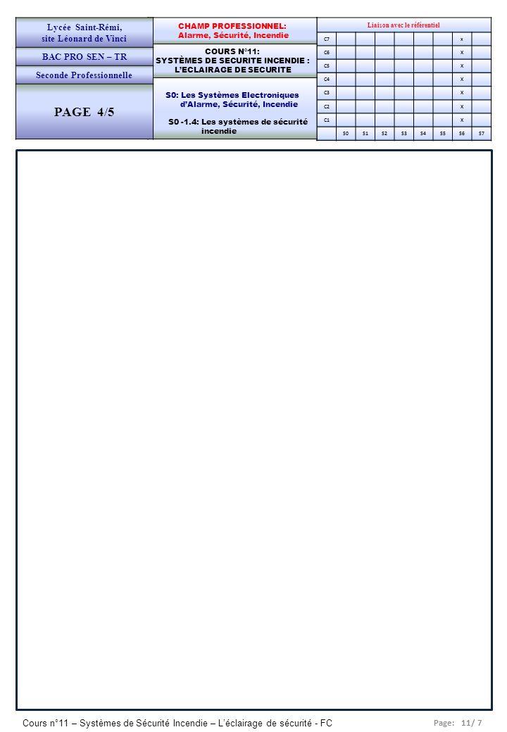 Page: 11/ 7 Cours n°11 – Systèmes de Sécurité Incendie – Léclairage de sécurité - FC Liaison avec le référentiel C7x C6X C5X C4X C3X C2X C1X S0S1S2S3S