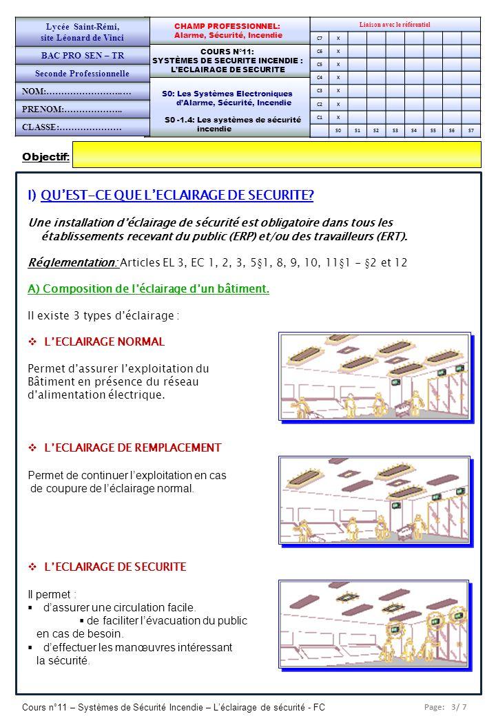Page: 4/ 7 Cours n°11 – Systèmes de Sécurité Incendie – Léclairage de sécurité - FC Liaison avec le référentiel C7x C6X C5X C4X C3X C2X C1X S0S1S2S3S4S5S6S7 CHAMP PROFESSIONNEL: Alarme, Sécurité, Incendie COURS N°11: SYSTÈMES DE SECURITE INCENDIE : LECLAIRAGE DE SECURITE S0: Les Systèmes Electroniques dAlarme, Sécurité, Incendie S0 -1.4: Les systèmes de sécurité incendie Lycée Saint-Rémi, site Léonard de Vinci BAC PRO SEN – TR Seconde Professionnelle PAGE 4/5 B) Quelles sont les fonctions de léclairage de sécurité.