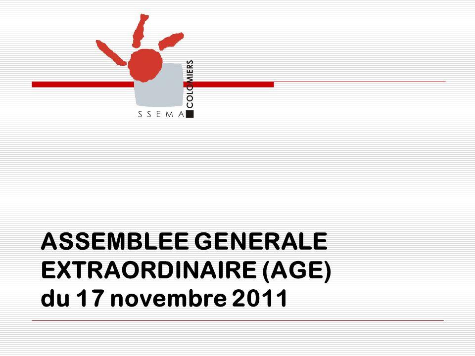 ASSEMBLEE GENERALE EXTRAORDINAIRE (AGE) du 17 novembre 2011