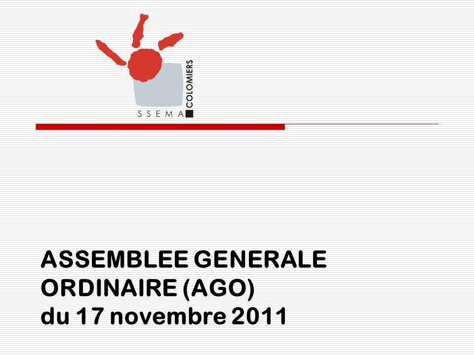 ASSEMBLEE GENERALE ORDINAIRE (AGO) du 17 novembre 2011