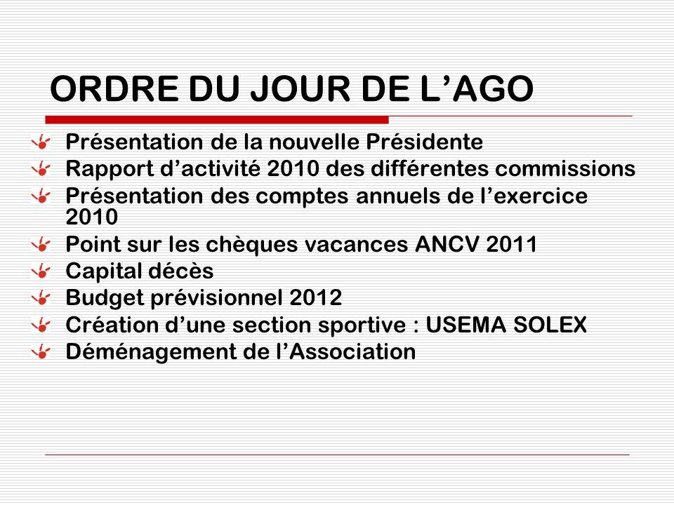 ORDRE DU JOUR DE LAGO Présentation de la nouvelle Présidente Rapport dactivité 2010 des différentes commissions Présentation des comptes annuels de le