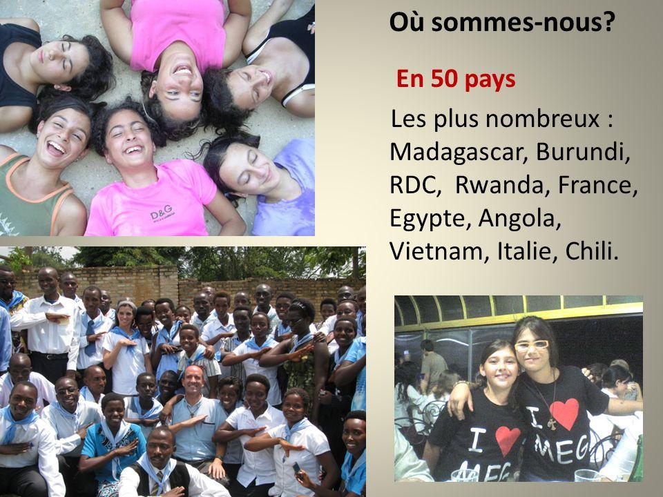 Où sommes-nous? En 50 pays Les plus nombreux : Madagascar, Burundi, RDC, Rwanda, France, Egypte, Angola, Vietnam, Italie, Chili.