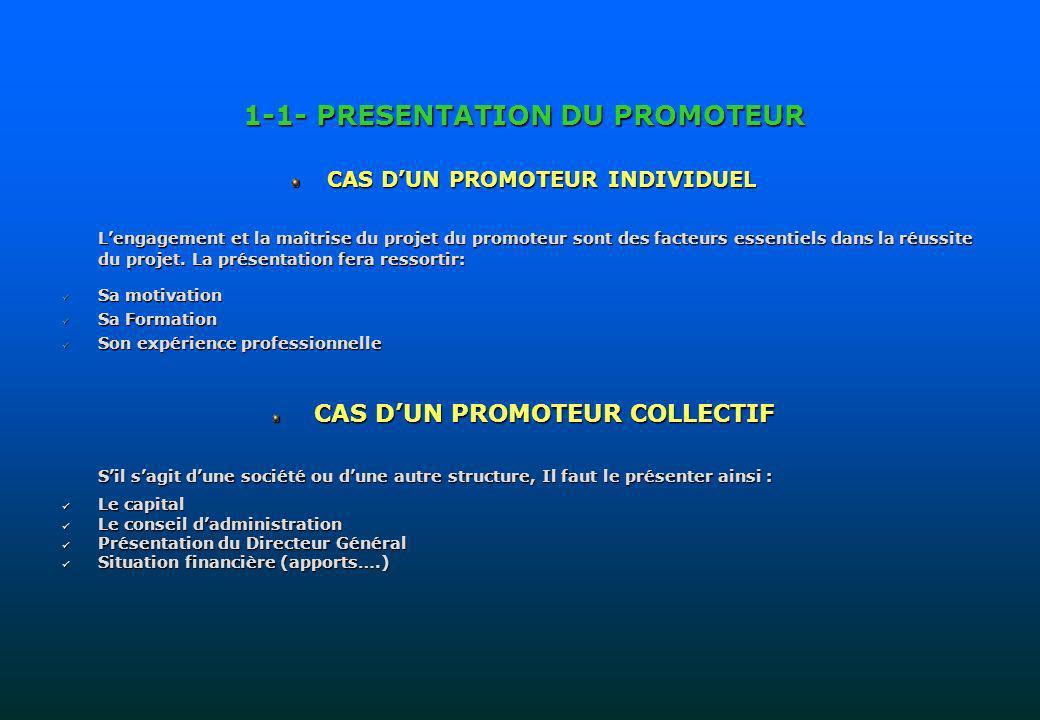 1-1- PRESENTATION DU PROMOTEUR CAS DUN PROMOTEUR INDIVIDUEL Lengagement et la maîtrise du projet du promoteur sont des facteurs essentiels dans la réu